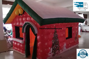 13x10ft Inflatable Santa Claus Grotto Christmas House Tent With Air Blower