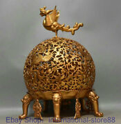 19.6 Marked Antique China 24k Gold Dynasty Palace Hollow Out Phoenix Oil Lamp