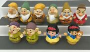 10 Fisher Price Little People 2 Different Snow White Dopey 7 Dwarfs Figures Doll