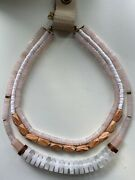 Anthropologie Pier Layered Neutral Pale Pink Necklace -- New With Tags
