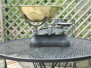Chicago Vintage Hardware Store Scale 1920s Art Deco Brass Pan And Cast Iron Frame