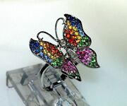 18k Diamond Multi Rainbow Sapphire Ruby Color Filigree Style Butterfly Ring