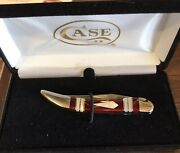 Case Xx Knives Exotic Red/gold Andmother Of Pearl Tiny Toothpick Ex10096. 11097