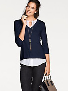 Patrizia Dini Plus Size 20 Navy White 2 In 1 Blouse Jumper Top Smart Casual Andpound71