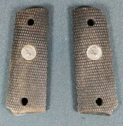 1970and039s Vtg Factory Colt M1911 Officers Ebony Checkered Hardwood Take-off Grips