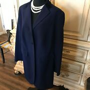 Navy Blue Stretch Wool Twill Velvet Trim Long Jacket 14w Ret 360