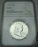 1961 Proof Franklin Silver Half Dollar Pf 69 Graded By Ngc