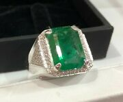 925 Sterling Silver 9.76 Cts Natural Emerald Octagon Shape Men Ring Size 6 To 15