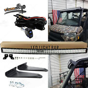 Fit Polaris Ranger 570/900/1000 Pro-fit Cage 52and039and039curved Led Light Bar Roof Mount