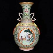 Fine Chinese Antiqaue Qing Dynasty Famille Rose Porcelain Figure Two Ear Vase