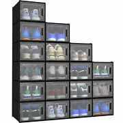 Yitahome 18pcs Shoe Storage Box Stackable Sneaker Organizer Clear Big Container