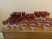 Excellent Condition Set 40 Glasses Kings Crown Ruby Flashed Tiffin Franciscan