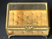 Wow Vintage Gold Jewelry Box Casket Antique Hollywood Regency Beveled Glass