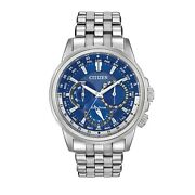 Citizen Eco-drive Menand039s Calendrier World Time Blue Dial 44mm Watch Bu2021-51l