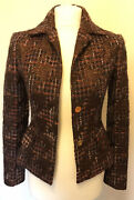 Dolce And Gabbana Woolen Tweed Purple Blazer With Gold Buttons Uk8 / It40