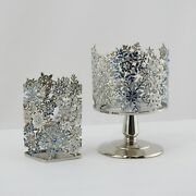 New Bath And Body Works Matching Jeweled Snowflake Candle And Soap Holder Silver