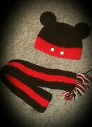 Kids Handmade Crochet Mickey Mouse Inspired Hat And Scarf Set