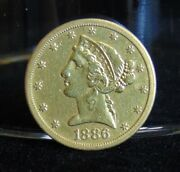 1886 S Liberty Head 5 Gold Half Eagle Coin Pre-1933 Au Variety 2 With Motto