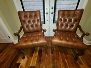 Vintage Chesterfield Leather Mahogany Carved Library Chairs Brass Nail Head Trim