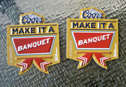 New 2 Lot Bottle Sign Coors Banquet Beer Christmas Ornaments Decoration Nos