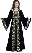 Black Velvet Kaftan Floral Crystal Luxe Embroidered Work By Maxim Creation 8108
