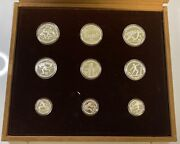 1982 Greece Olympics Commemorative 9 Coin Silver Proof Set W/ Ogp And Coa