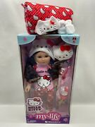 My Life As Hello Kitty 18 Doll Brunette And Hello Kitty Sleeping Bag Slippers Lot