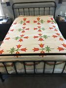 Antique Tulip 1860's Turkey Red And Two Step Green, Chrome Orange Applique Quilt