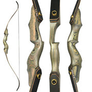 60and039and039 Archery Recurve Bow Wooden Riser Takedown 25-60lbs Hunting Shooting Target