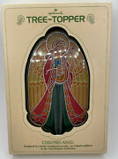 Vintage Christmas Hallmark Acrylic Stained Glass Angel Tree Topper 1979
