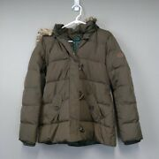 Lauren Army Green Puffer Coat M Womenand039s Down Hooded Worm Winter