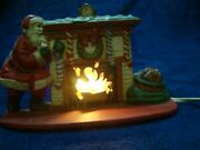 Vintage Midwest Importers Electric Lighted Cast Iron Santa Fireplace Mantle