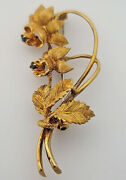 Blue Sapphire Lily Floral Brooch 18kt Yellow Gold 4400