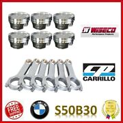 Wiseco 3.405 86.50 Mm 10.01 Cr Pistons / Cp Pro-h Wmc Rod Set For Bmw S50b30