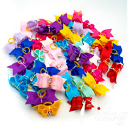 50/100/500pcs Cute Puppy Dog Small Bowknot Hair Bows With And Rhinestone Pearls