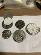 Lot Of 5 Elgin Pocket Watches For Parts And Repair Steampunk