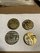 Lot Of 4 Elgin Pocket Watches For Parts And Repair Steampunk