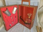 Vtg. Cutty Sarksleather Liquor Travel Case Portable Bar Set 1950and039s