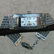 Lois Hill Bali Woven Sterling Silver Bracelet Swiss Made Stainless Case Watch