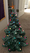 """Vtg Hand Painted Two Piece Ceramic Table Top Christmas Tree Colored Lights 24""""h"""