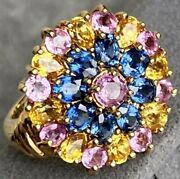 18k Yellow Gold Blue Yellow Pink Sapphire Vintage Dome Ring Flower Spray Sz 6.25