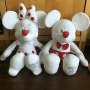 Disney Store 2013 Mickey Minnie Mouse Christmas White Red Plush Doll Toy Japan