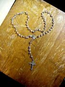 Antique Crystal And Sterling Mv Mexico Rosary Bead Set With Fancy Celtic Crucifix