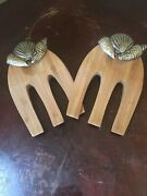 Mud Pie Natural Beauties Dining Wood And Metal Shell Salad Hands New W/o Tag