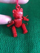 """Miniature Metal Jointed Articulated Red Teddy Bear Tiny Tree Ornament 2"""""""