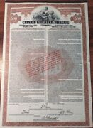 Czechoslovakia 1922 Greater Prague 500 Usd Gold Coupons Not Cancelled Bond Share