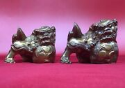 Vintage Chinese Pair Foo Dogs Bronze 4 Tall Sculptures Set China Statues Fine