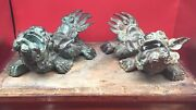 Vintage Chinese Pair Foo Dogs Bronze Sculptures Set China Statues Fine Antique