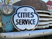 Antique Vintage Old Style Cities Service Gas Oil Sign