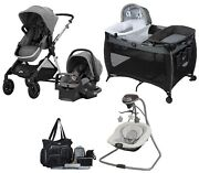 Baby Stroller With Car Seat Combo Playard Swing Bag Single To Double Travel Set